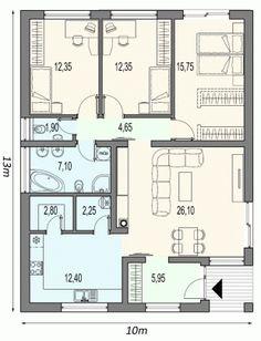 Bungalov MAX se vstupem z jihu Small House Floor Plans, Cabin House Plans, House Layout Plans, Home Design Floor Plans, Best House Plans, Bedroom House Plans, Dream House Plans, Modern House Plans, House Layouts