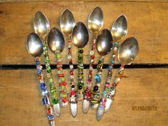 Beaded Spoons make great gifts. (Marchel French I just use 22 gauge crafting wire, thread through bead, and wrap around spoon. I use glass beads, then you can put them in the dishwasher.)