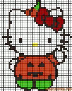 Hello Kitty pumpkin Halloween perler bead pattern by paige