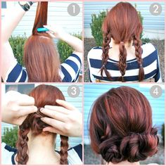 1.   Tease/Back comb your crown to create volume, and smooth hair back, with or without a part.    2.   Loosely braid hair into three sections, vertically.    3.   Roll braids up into buns and secure with hair pins.  Wrap the outer braids around the center for a woven-style bun, or secure each bun separately next to each other for a rosette look.