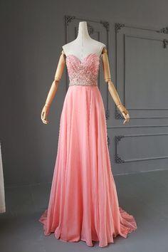 Romantic A Line Long Coral Chiffon Sweetheart Crystal Beaded Prom Evening Dress With Train Orange Blush, Purple Grey, Blush Pink Prom Dresses, Platinum Grey, Evening Dresses, Formal Dresses, Crystal Beads, Hot Pink, Chiffon