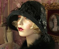 1920'S VINTAGE STYLE GREY & BLACK ROSE CLOCHE FLAPPER HAT | Clothing, Shoes & Accessories, Women's Accessories, Hats | eBay!