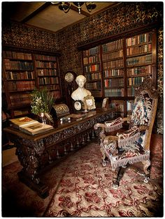 #Oxburgh Hall | Historic Manor House in #Norfolk - the Library has a secret door in the bookcase
