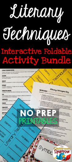 Do your students need a challenge? Are you looking to reinforce their understanding of literary techniques? This file includes one literary techniques foldable (w/separate answer key), mix and match flash cards, which can be used as study guides, a helpful handout with additional in-depth information for review, and an editable quiz (with answer key) to wrap up the lesson.