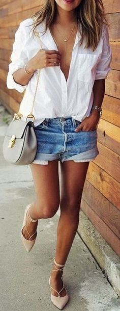 #summer #street #style | White + Denim