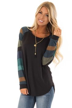 7bc1ed4d377 Lime Lush Boutique - Black Top with Long Multi Color Striped Sleeves,  $36.99 (https