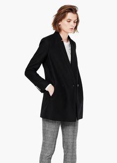 Abrigo lana doble botonadura - Abrigos de Mujer | MANGO
