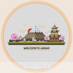 Welcome to Japan  Cross stitch pattern by AnitaStitch on Etsy