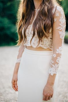 A two piece wedding dress: http://www.stylemepretty.com/2016/02/22/30-must-haves-to-plan-the-ultimate-cool-girl-wedding/
