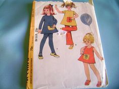 VINTAGE BUTTERICK SEWING PATTERN 2744 GIRLS TEACH ME DRESS TOP PRACTICE POCKET 2 #BUTTERICK