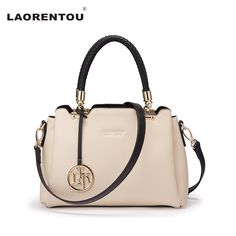 Laorentou Luxury Top Handle Cowhide Leather Women Handbag Fashion Casual Tote Shoulder Crossbody Bag Leather Female Bag N55