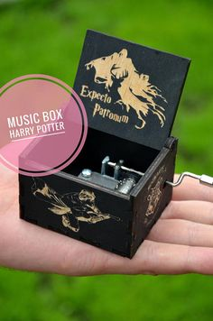 Hedwig's Theme Harry Potter Music Box Wooden Gift Idea Friend Sister Brother Custom Personalised Magic Hogwarts Hand Cranked Movement
