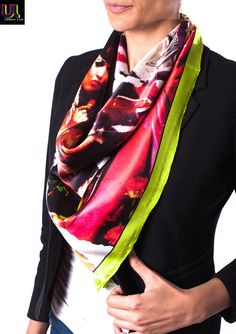 https://www.cityblis.com/10362/item/14961 | Madrid Chueca, Large - $101 by UrbanLabCouture | Large 87cm x 87cm, 100% Satin Silk, hand-hemmed luxury scarf. Made in Italy. From the International Street Art Limited Edition Collection from URBAN LAB COUTURE.  Whether ripped down by authorities, defaced by rivals or simply degraded by the weather, street art is fleeting by nature and rarely win... | #Scarves