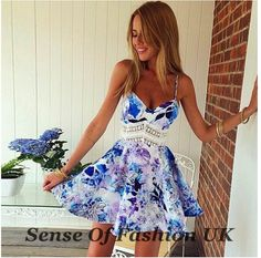 UK WOMENS LACE FLORAL PRINT SPAGHETTI STRAP SKATER PARTY SUMMER DRESS SIZE 8-14