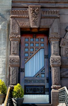 Use interesting doors. Art Deco Door at St. Rita of Cascia (David Garrison House), South Broad Street, Philadelphia Cool Doors, Unique Doors, Door Knockers, Door Knobs, Garrison House, Art Deco Door, When One Door Closes, Door Gate, Grand Entrance