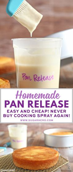 "Homemade Pan Release Homemade Pan Release – also known as ""Cake Goop,"" this magical mixture is just what you need to get cakes out of pans cleanly and easily. Mix up a batch and you'll never have a broken cake again! Baking Basics, Baking Tips, Baking Recipes, Dessert Recipes, Pasta Recipes, Baking Secrets, Desserts, Cupcakes, Cupcake Cakes"