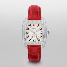 Michele Urban Diamond Garnet Alligator Watch Mww02m000006 White