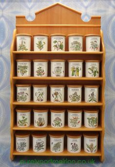 Portmeirion Collectors Herb And Spice Jars In Wooden Rack