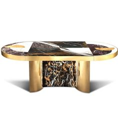Half Moon Marble and Brass Dining Table