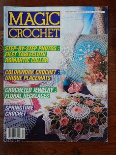 Magic Crochet Magazine Feb.1990 # 64/Crochet Pattern Magazine/tablecloths,Floral Necklace,doilies,placemats,filet,bedspreads