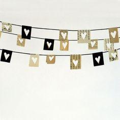 Heart paper bunting x Bunting Garland, Heart Garland, Buntings, Bunting Flags, Diy Garland, Paper Bunting, Heart Banner, Valentine Decorations, Tutorials