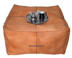 Etsy :: Your place to buy and sell all things handmade Square Pouf, Square Ottoman, Leather Pouf Ottoman, Handmade Ottomans, Moroccan Pouf, Stitching Leather, Off Colour, Marrakech, Real Leather