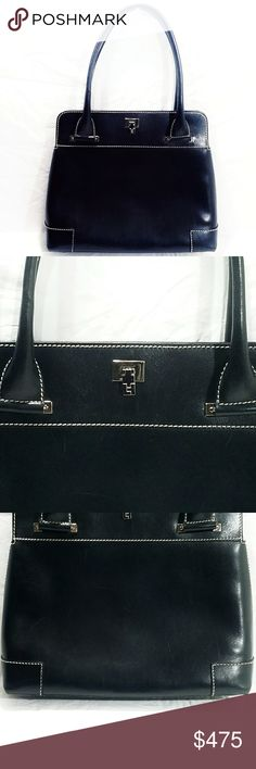 Lambertson Truex Black Leather Boxcar Satchel Gorgeous black?leather flap top satchel. Turn-lock closure. Light blue suede?lining 1 zippered compartment?& 1 open pocket. Double rolled handles for easy, comfortable carrying. Sleek & Chic. Made in Italy. In beautiful preloved condition, w/ minor signs of use to the surface (difficult to see). Interior is in overall good condition. There are a few stitches loose on the pocket (purely cosmetic) a light?pen mark, & some general signs of use from…