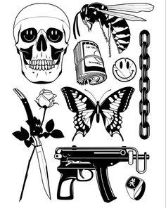 Cute Tattoos, Black Tattoos, Tattoos For Guys, Tattoo Design Drawings, Tattoo Sketches, Stick Poke Tattoo, Traditional Tattoo Flowers, Grunge Tattoo, Graffiti Cartoons