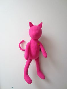 Cat doll Neon pink soft fleece heirloom baby girl kids by bubyNoa, $76.00