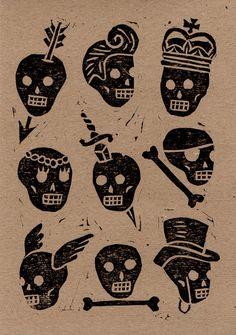 skulls. http://harrydrawspictures.bigcartel.com/category/lino-prints