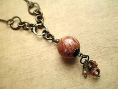 Brown Bead Lariat Necklace Beaded Jewelry by LittleBitsOFaith, $28.00