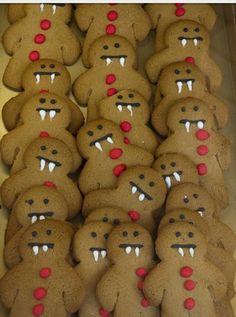 Vampire Gingerbread Men. Super cute, super easy- I'm doing this Oct. & Dec.