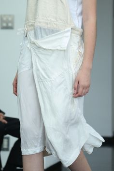 White / ivory dress | Apron front | Deconstruction | Fall away