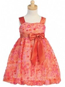 Embroidered Tulle & Taffeta Girls Dress
