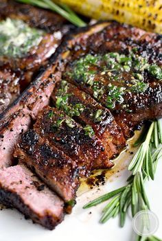 Perfect Grilled Steak with Herb Butter features a homemade dry rub and melty herb butter finish. Absolutely mouthwatering! #glutenfree