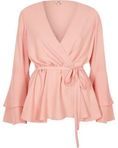 6bb599650cf Light pink frill sleeve wrap blouse - Blouses - Tops - women