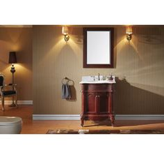"""View the Virtu USA ES-27030 Norhaven 30"""" Free Standing Vanity Set with Oak Cabinet, Marble Top, 1 Undermount Sink and 1 Mirror at Build.com."""