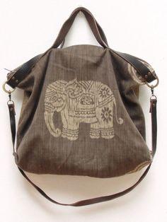Ikat Leather Bag - Boho Elephant Safari - upcycled eco friendly 410ae6f3f573b