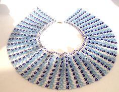Sead azul y blanco collar de grano por RMAccessoriesCo en Etsy