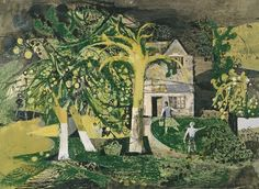 """""""The Orchard"""" by Keith Vaughan, 1944 (gouache, crayon, pen & ink on paper) Vaughan, Manchester Art, Gouache Painting, Landscape Art, Landscape Paintings, Illustration Art, Illustrations, Fine Art, Drawings"""