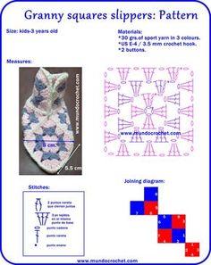 Granny crochet square slippers Crochet Blocks, Crochet Chart, Crochet Squares, Filet Crochet, Crochet Motif, Granny Squares, Knit Crochet, Loom Knitting Patterns, Crochet Flower Patterns