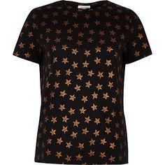 Black metallic star print T-shirt $40.00