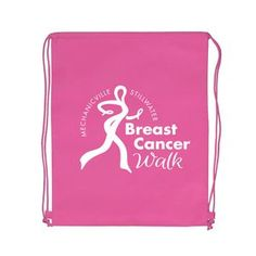 """Breast Cancer Awareness Pink Non-Woven Heavy Duty Backpack (16""""x20"""") - Screen Print - Customize"""