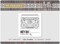 DIY PRINTABLE  Retro Boombox DJ Request Cards by StarlingMemory3, $15.00