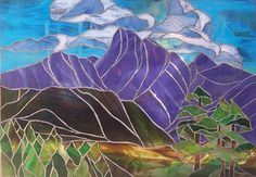 Beautiful stained glass mountain scene