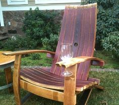 Adirondack chair with wine glass holder made from wine barrels