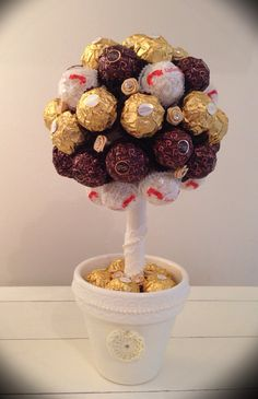 Vintage style Fererro Rocher Sweetie Tree decorated with diamanté roses.
