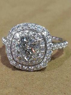 14k white gold and diamond 1.32 center