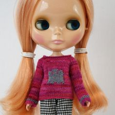 New to AnneArchy on Etsy: Blythe doll Ghostie Sweater knitting PATTERN - cute ghost long sleeve sweater - instant download - permission to sell finished items (5.00 USD)
