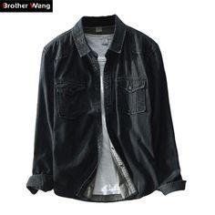 e2f3d06473f Buy Brother Wang Brand 2019 Spring New Men s Casual Black Denim Shirt 100  Cotton Fashion Slim Long Sleeve Shirts Male clothes
